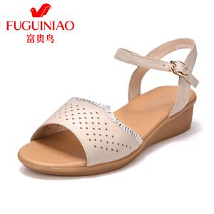 富贵鸟女鞋2017新款夏季坡跟凉鞋女休闲镂空透气妈妈凉鞋平底