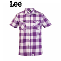 Lee 衬衫男士短袖夏季衬衣男装紫格男式6390-6T7B