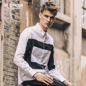 viishow秋装新款长袖衬衫 英伦风长袖衬衣 黑白拼色白衬衫男 C106253