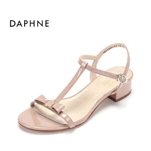 Daphne/达芙妮夏季新款中跟露趾凉鞋 甜美蝴蝶结丁字扣带粗跟女鞋