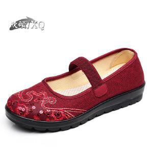 欣清老北京布鞋女鞋夏 时尚中老年凉鞋女一字扣妈妈鞋单鞋