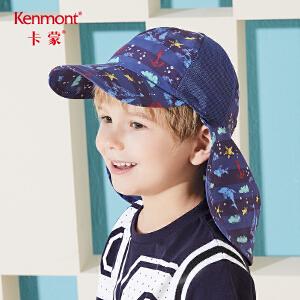 卡蒙3-6-9岁儿童帽子夏天轻薄透气鸭舌帽男童护脖时尚棒球帽女孩4788