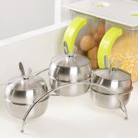 【可货到付款】欧润哲 时尚厨房不锈钢调味瓶+拱形支架套装 调料罐带勺子盐罐