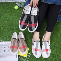 匡王2017夏季新款帆布鞋女一脚蹬懒人鞋女鞋韩版学生平底板鞋套脚鞋子