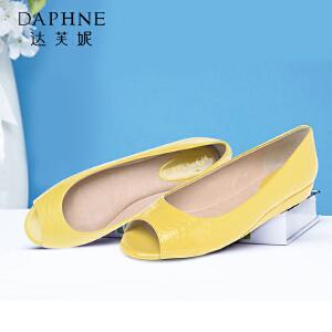 Daphne/达芙妮女单鞋 简约鳄鱼皮条纹鱼嘴低跟坡跟单鞋1014102186