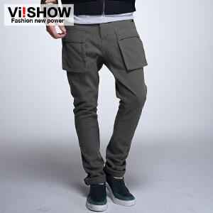 viishow春装新款男士休闲裤 多口袋工装裤 直筒长裤 修身男裤