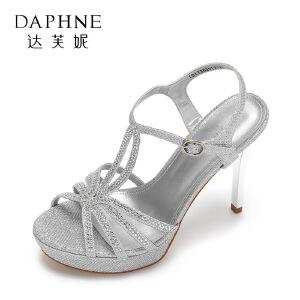 Daphne/达芙妮17舒适防水台细跟凉鞋 性感丁字扣带超高跟宴会女鞋