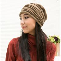 单层毛线帽褶皱帽 韩版潮流女帽子  休闲针织帽堆堆帽套头帽 秋冬天