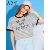 20170512154052049以纯线上品牌a21 2017夏装新款短袖T恤女宽松纯棉花边字母印花上衣