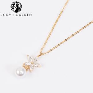 【茱蒂的花园】花朵仿珍珠精致水钻项链电镀真金K金玫瑰金锁骨链吊坠颈链女款女式时尚款送女友女生生日礼物