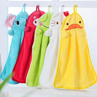 卡通加厚珊瑚绒擦手巾 厨房浴室强吸水挂式搽手巾厨房抹布洗碗布毛巾 -绿色青蛙
