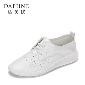 Daphne/达芙妮2017春休闲平底鞋 百搭圆头透气系带单鞋