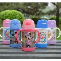 迪士尼儿童保温杯子带手柄可爱 宝宝幼儿水壶 米奇学饮吸管杯
