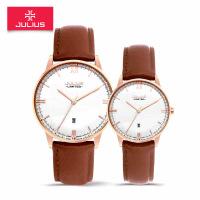聚利时韩国手表 精准石英机芯 真皮表带商务情侣对表皮带男女手表