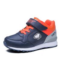 史努比童鞋男童皮面跑步鞋保暖休闲鞋减震儿童运动鞋中大童二棉鞋