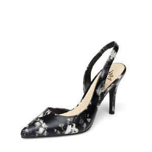 Daphne/达芙妮春款中空高跟鞋时尚优雅印花通勤风OL扣带后空单鞋