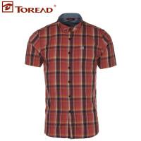 探路者春夏新款男式旅行棉短袖衬衫TAKD81920
