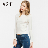 以纯A21秋装新款长袖白色T恤女 短款纯色针织打底衫修身简约女生上衣