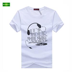 EASZin逸纯印品 短袖T恤男 2017夏季新款韩版短袖T恤字母耳机印花男士加大码体恤衫