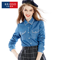 BRIOSO秋冬季新款加绒加厚全棉牛仔长袖保暖衬衫 修身双袋衬衣 WE19395NZBN