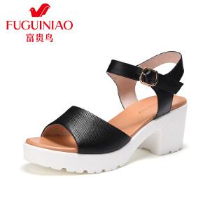 富贵鸟2017新款夏季女鞋凉鞋女粗跟防水台高跟凉鞋厚底松糕鞋