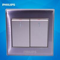 飞利浦墙壁开关插座面板金属系列Q8 212 二位按键双开单极开关