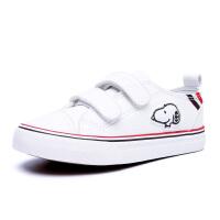 史努比童鞋男童帆布鞋春秋中小童白色板鞋