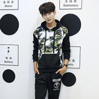 新悦都 卫衣套装男套头连帽卫衣男青少年韩版修身外套迷彩套装潮TZ96