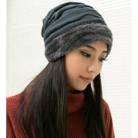 韩版潮流休闲帽时尚针织女帽子 帽子女秋冬天加厚加绒保暖毛线帽