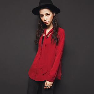 【9.21超级品牌日】七格格秋装新款韩范港味复古chic红色V领领带宽松长袖衬衫女