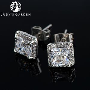 【茱蒂的花园】经典方形圆形耳钉满钻镶水晶钻女士时尚耳环耳坠线耳夹A级合成品锆石送女友老婆情人节礼物