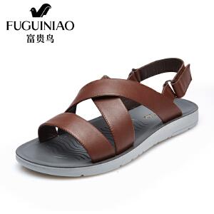 富贵鸟(FUGUINIAO)夏季新品头层牛皮休闲时尚凉鞋 防滑轻盈透气吸汗除臭沙滩鞋