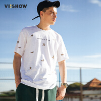 viishow2017短袖男潮夏季圆领纯棉体恤半截袖韩版休闲男士T恤
