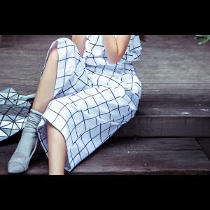 【9.21超级品牌日】七格格七小格夏新款白色格子宽松七分女裤阔腿裤 女