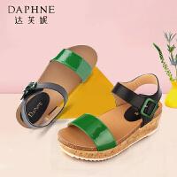 Daphne/达芙妮正品春夏驾车凉鞋软底露趾撞色平底学院风休闲女鞋