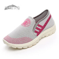欣清秋季老北京布鞋女单鞋休闲鞋女夏季透气红色平底网布运动鞋