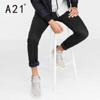 以纯A21裤子男潮2017新款男士加绒百搭牛仔裤男 春季直筒纯棉长裤青年
