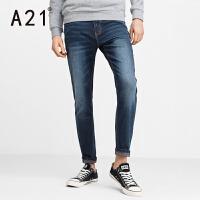 以纯A21男装修身牛仔裤休闲潮流小脚长裤