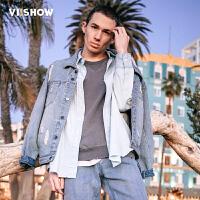 VIISHOW2017潮牌春装新品休闲长袖牛仔夹克男破洞做旧牛仔衣外套