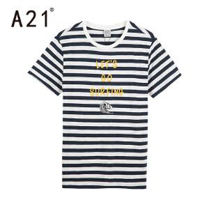 A21条纹短袖t恤男潮流男士纯棉体恤圆领2017夏季海魂衫休闲男装