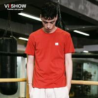 viishow夏装新款短袖T恤 欧美潮流橘红色短袖T恤男 贴图圆领t