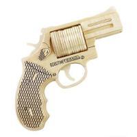 创意玩具若态科技儿童益智3D木制拼装模型左轮手枪