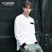 VIISHOW春季男士长袖T恤 欧美体恤男装 青年衣服纯色打底衫男