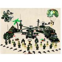 男孩玩具启蒙野战团军事系列兼容拼装积木塑料拼插