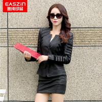 逸纯印品(EASZin)女式仿真皮皮皮衣 2017春季上新韩版修身机车短款皮夹克外套