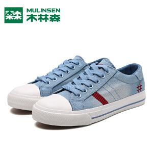 木林森夏季学生帆布鞋女韩版系带平底板鞋