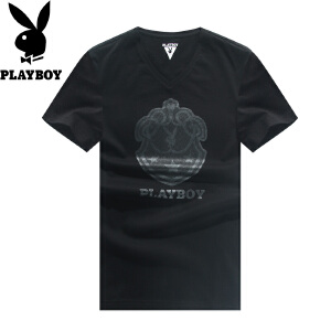 花花公子短袖T恤男2017年夏季新款V领时尚休闲男士短袖黑色体恤衫