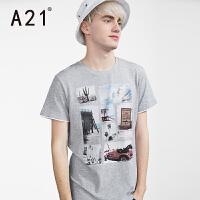 以纯A21男装短袖t恤男 圆领纯棉修身简约百搭印花男士夏装衣服潮体恤