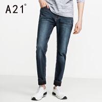 以纯A21秋装新款加绒牛仔裤男秋冬款 修身型弹力牛仔小脚裤男士裤子潮