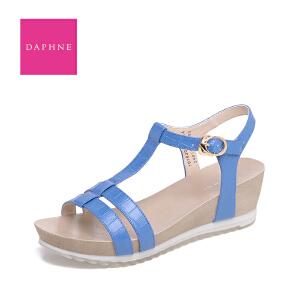 Daphne/达芙妮2016夏季新款 休闲纯色坡跟丁字扣女凉鞋1016303196